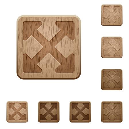 alt: Set of carved wooden Resize full alt buttons in 8 variations. Illustration