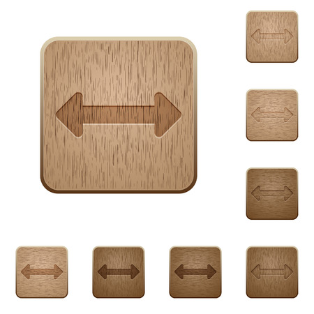 resize: Set of carved wooden Resize horizontal buttons in 8 variations. Illustration