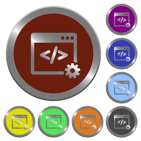 Set of glossy coin-like color web development buttons. Illustration