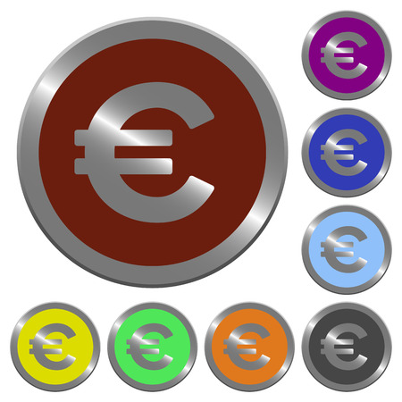 coinlike: Set of glossy coin-like color euro sign buttons.