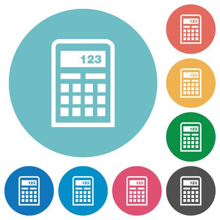 compute: Flat calculator icon set on round color background. Illustration