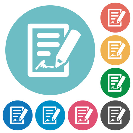 signing papers: Flat signing contract icon set on round color background.