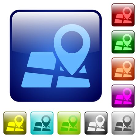 rounded: Set of map location color glass rounded square buttons