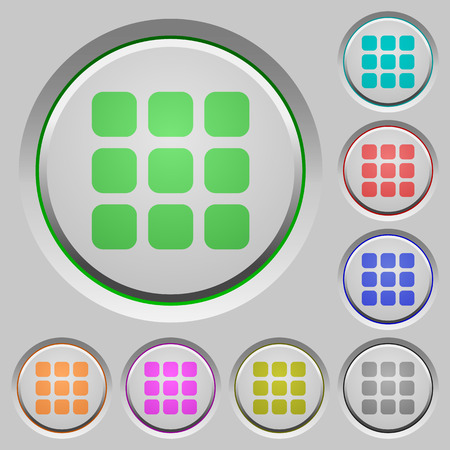 viewpoints: Set of color Small grid view sunk push buttons. Illustration