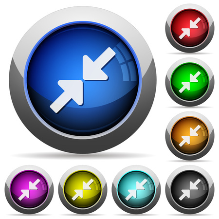 resize: Set of round glossy Resize small buttons. Arranged layer structure. Illustration