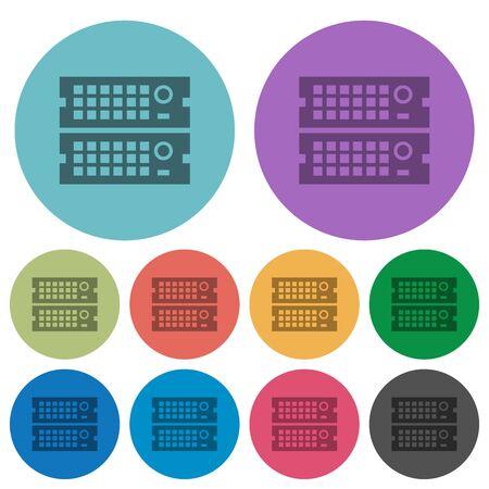 webserver: Color rack servers flat icon set on round background.