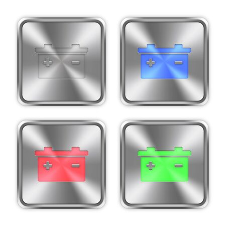 accu: Color battery icons engraved in glossy steel push buttons.