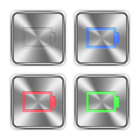 Color empty battery icons engraved in glossy steel push buttons.