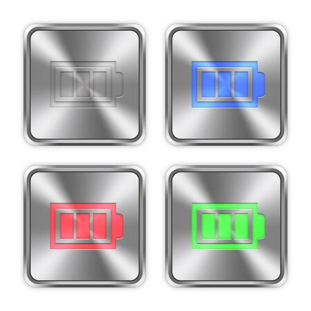accu: Color full battery icons engraved in glossy steel push buttons.