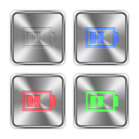 accu: Color half battery icons engraved in glossy steel push buttons.
