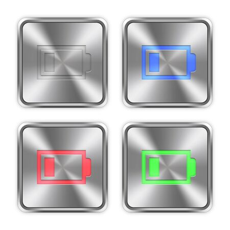 accu: Color low battery icons engraved in glossy steel push buttons.