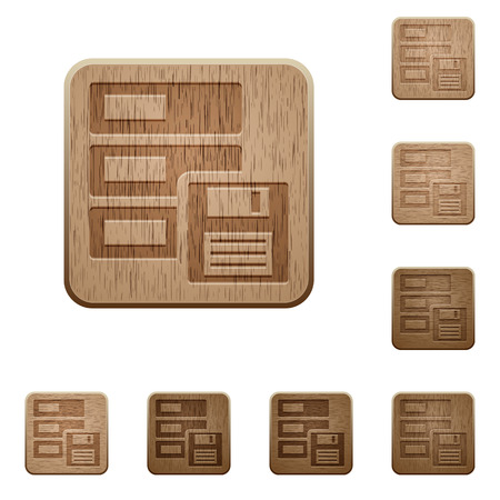 variations: Set of carved wooden backup buttons in 8 variations.