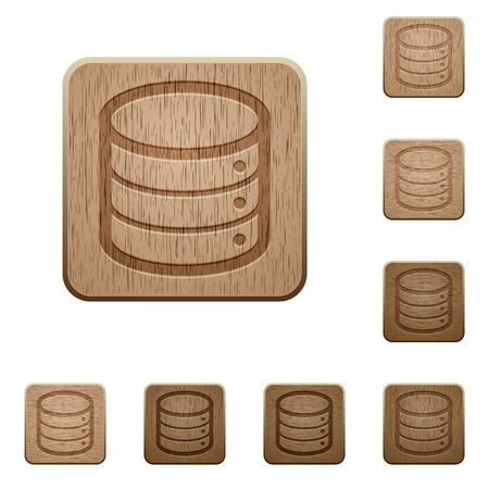 variations set: Set of carved wooden database buttons in 8 variations.