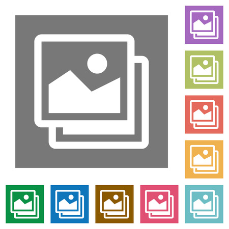 images icon: Images flat icon set on color square background. Illustration
