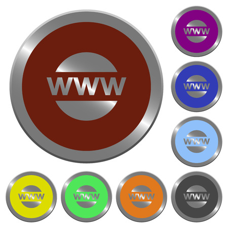 edu: Set of glossy coin-like color domain buttons. Illustration