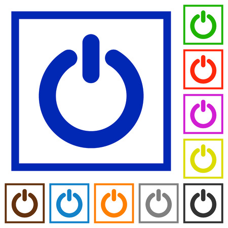 poweron: Set of color square framed Power switch flat icons on white background Illustration