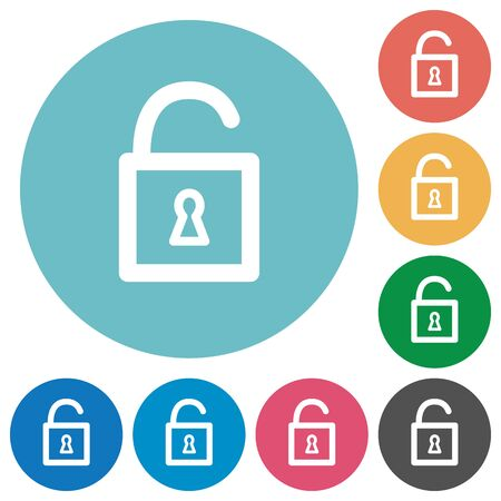 decrypt: Flat unlocked padlock icon set on round color background.