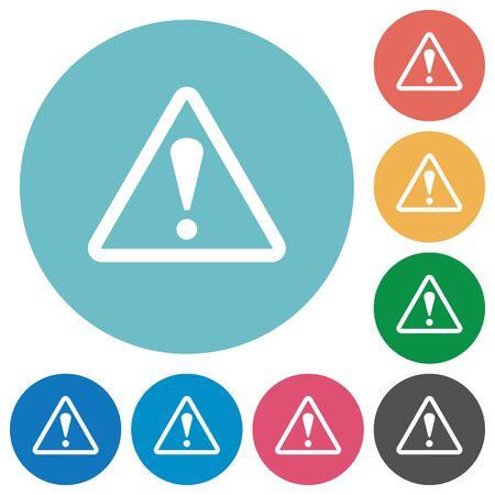 unsafe: Flat warning icon set on round color background.