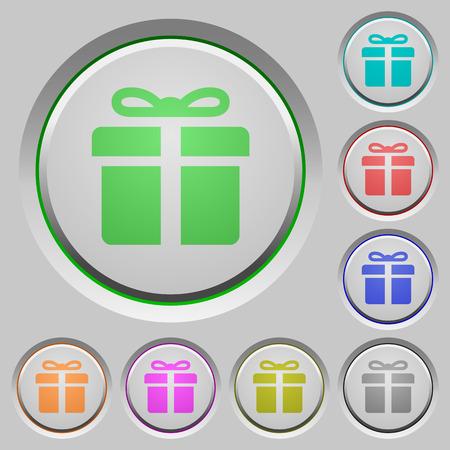 suprise: Set of color gift sunk push buttons. Illustration