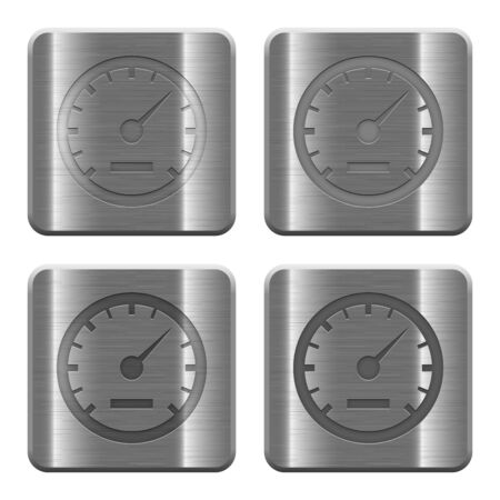 silver metal: Set of speedometer buttons vector in brushed metal style.