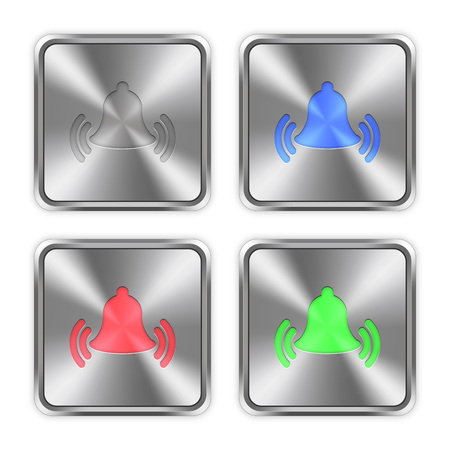 ringing: Color ringing bell icons engraved in glossy steel push buttons.