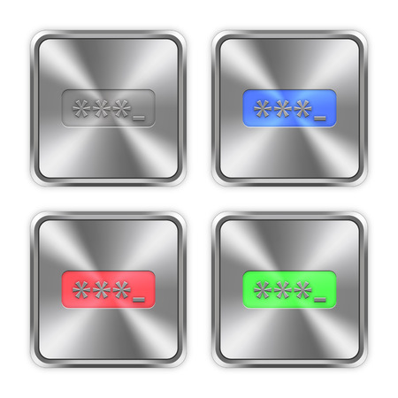 logon: Color password typing icons engraved in glossy steel push buttons. Illustration