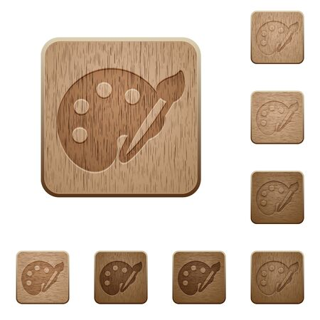 variations: Set of carved wooden palette buttons in 8 variations.