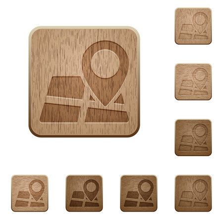 variations: Set of carved wooden Map location buttons in 8 variations. Illustration