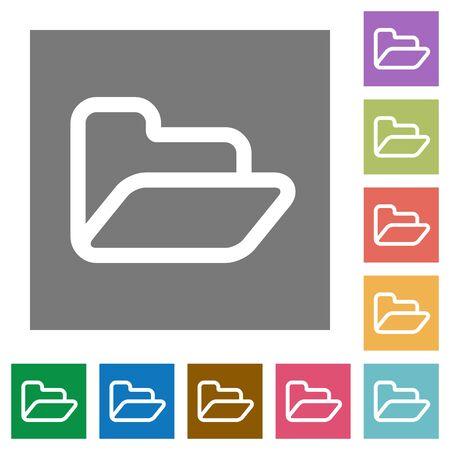 Folder flat icon set on color square background.
