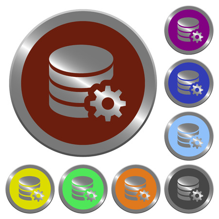 configuration: Set of glossy coin-like color database configuration buttons.