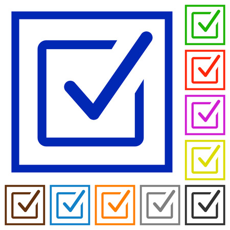 approval button: Set of color square framed Checked box flat icons on white background