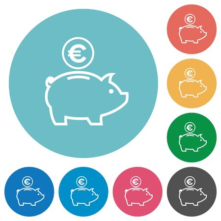 thrift: Flat euro piggy bank icon set on round color background.