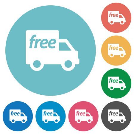 camion: Flat free shipping icon set on round color background.
