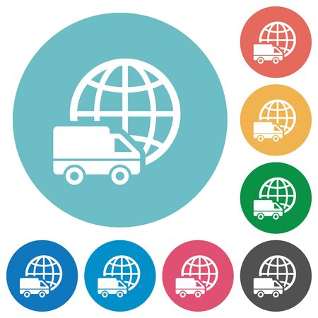 camion: Flat international transport icon set on round color background.