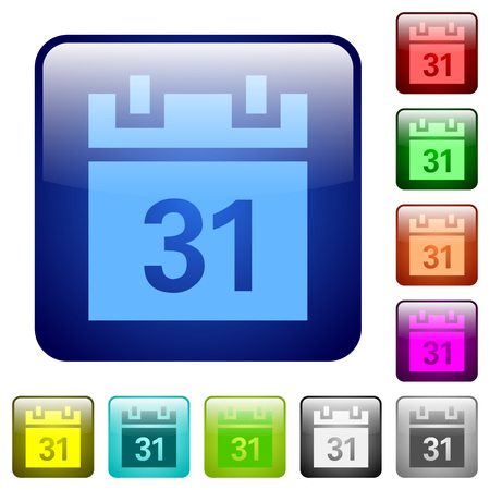 rounded: Set of calendar color glass rounded square buttons