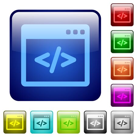 programming code: Set of programming code color glass rounded square buttons