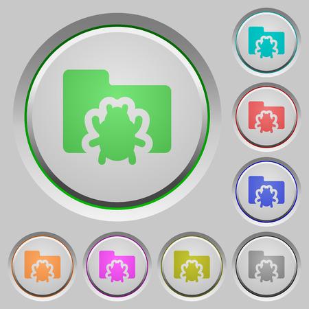 debugging: Set of color Bug folder sunk push buttons. Illustration