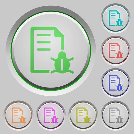 debugging: Set of color Bug report sunk push buttons. Illustration