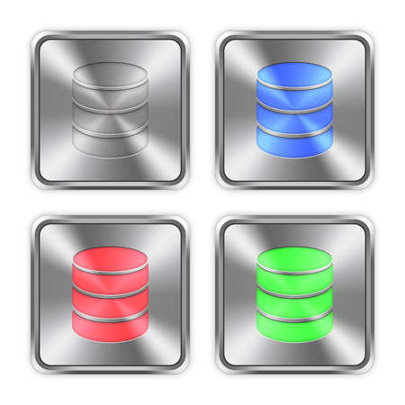 mysql: Color database icons engraved in glossy steel push buttons. Illustration