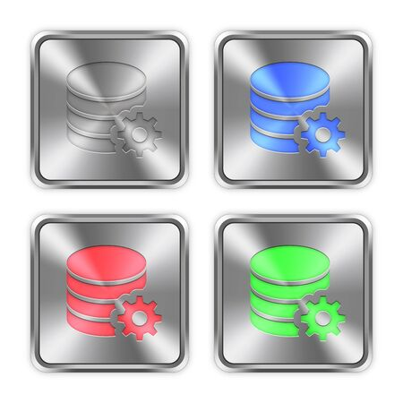 Color database configuration icons engraved in glossy steel push buttons.