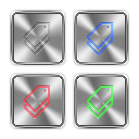 keywording: Color tags icons engraved in glossy steel push buttons. Illustration