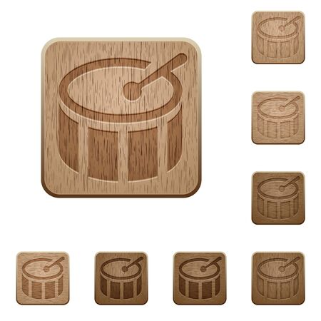 drumstick tree: Set of carved wooden drum buttons in 8 variations.