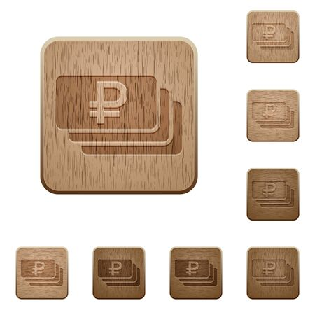 carved: Set of carved wooden Ruble banknotes buttons in 8 variations.