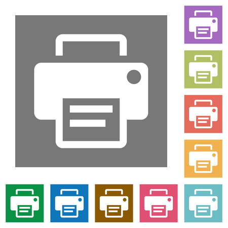 Printer flat icon set on color square background.