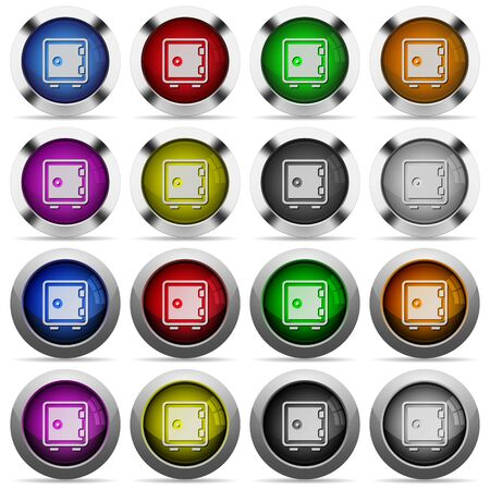 pincode: Set of Strong box glossy web buttons. Arranged layer structure.