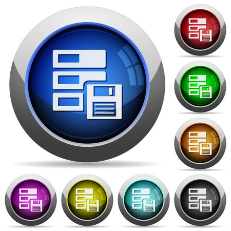 harddrive: Set of round glossy backup buttons. Arranged layer structure. Illustration
