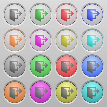 sunk: Set of exit plastic sunk spherical buttons. Illustration