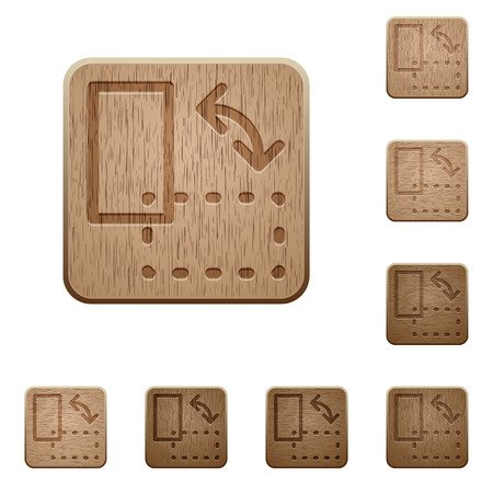 rotate: Set of carved wooden Rotate element buttons in 8 variations.