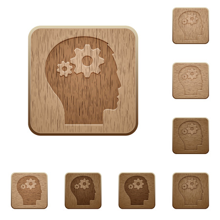 permissions: Set of carved wooden User settings buttons in 8 variations.
