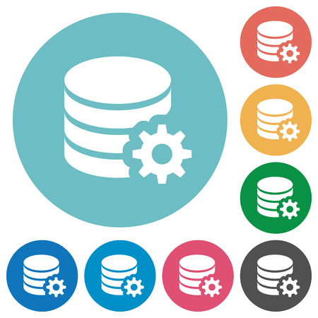 Flat database configuration icon set on round color background.